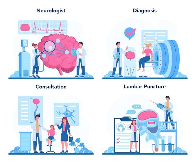 Conjunto de concepto de neurólogo. el doctor examina el cerebro humano. idea de médico que se preocupa por la salud del paciente.