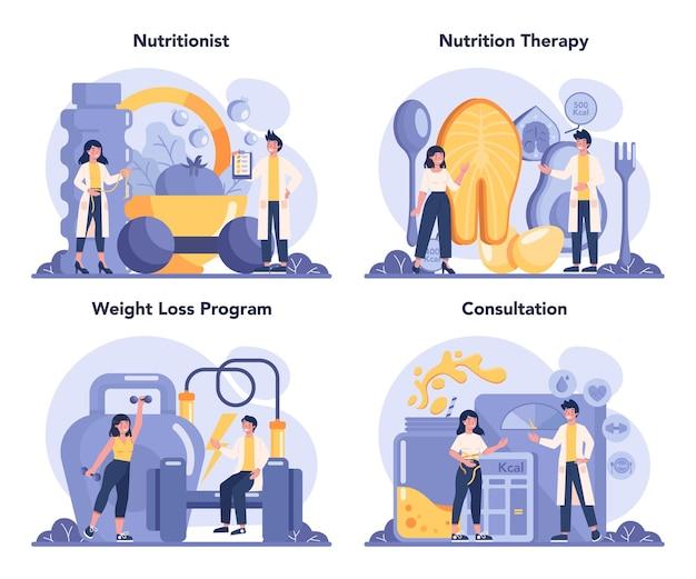 Conjunto de concepto de nutricionista. terapia nutricional con alimentación sana y actividad física.