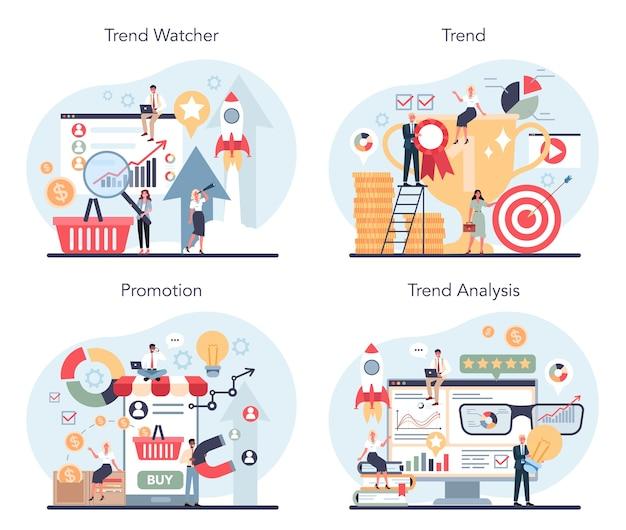 Conjunto de concepto de observador de tendencias. especialista en seguimiento de la aparición de nuevas tendencias empresariales.