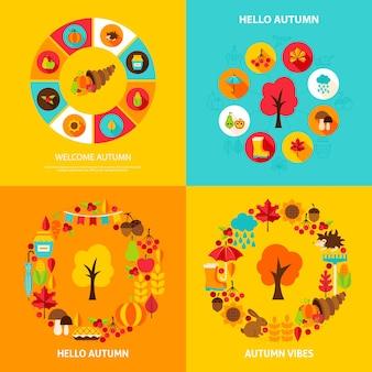 Conjunto de concepto de otoño. ilustración vectorial de stock. carteles de temporada de otoño.