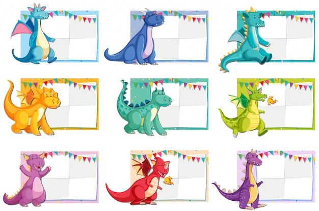 Conjunto de concepto de papel de dinosaurio