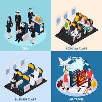 Conjunto de concepto de pasajeros de avión