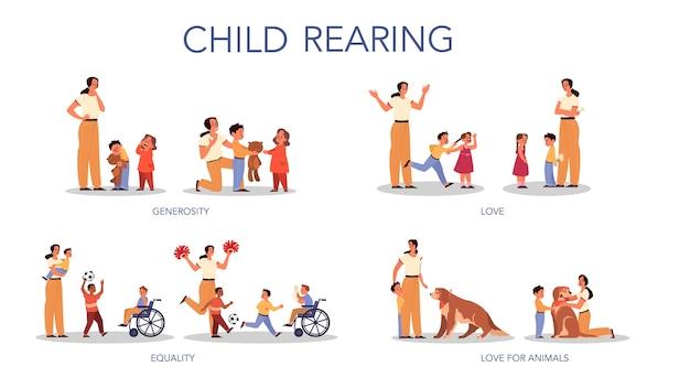 Conjunto de concepto de paternidad y crianza de los hijos. influencia en el niño, la familia
