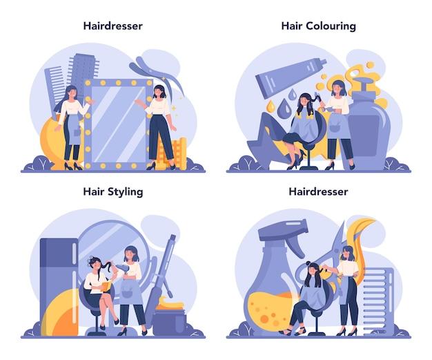 Conjunto de concepto de peluquería. idea de cuidado del cabello en el salón. tijeras y cepillo, champú y proceso de corte de pelo.