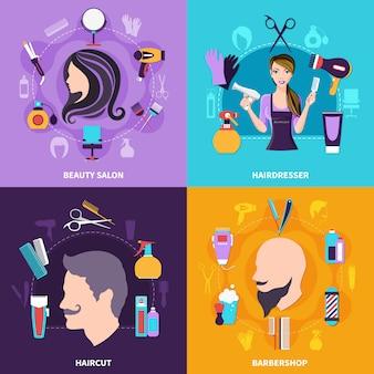 Conjunto de concepto de peluquería