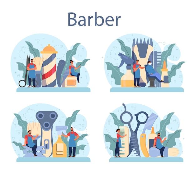 Conjunto de concepto de peluquero. idea de cuidado del cabello y la barba. tijeras y cepillo, champú y proceso de corte de pelo. tratamiento y peinado del cabello.