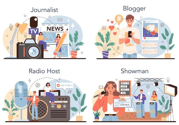Conjunto de concepto de periodista. periodismo en prensa, internet y radio. reportero de televisión, bloguero de video, locutor de radio, locutor. profesión de los medios de comunicación. ilustración vectorial en estilo de dibujos animados