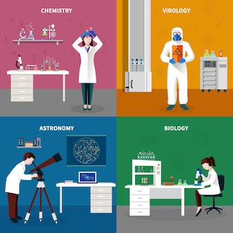 Conjunto de concepto de personas de científicos