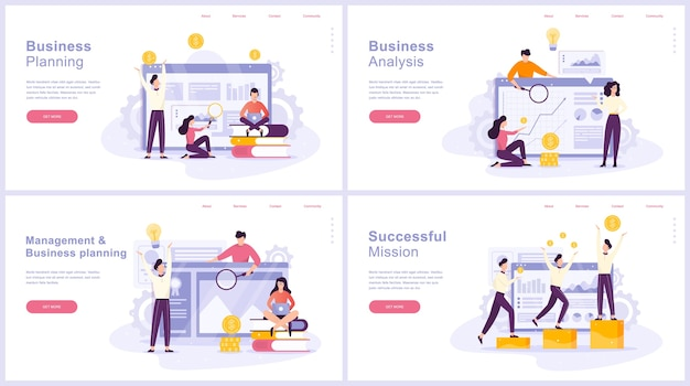 Conjunto de concepto de planificación empresarial. idea de análisis