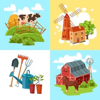 Conjunto de concepto plano de diseño de granja