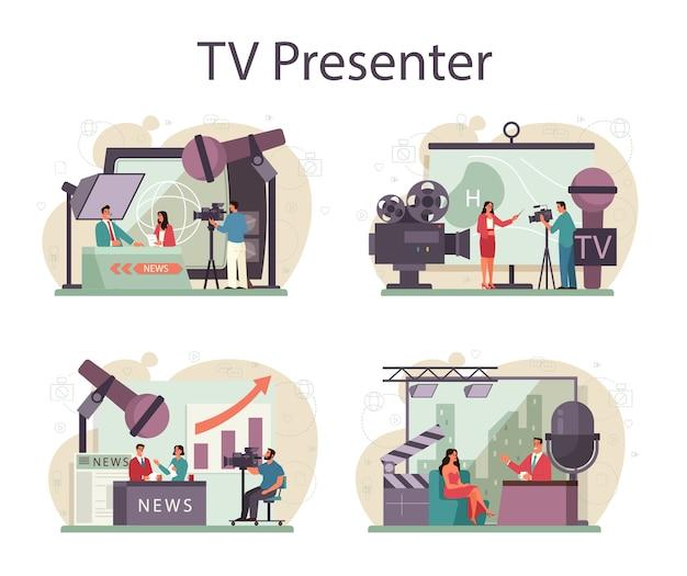 Conjunto de concepto de presentador de tv. presentador de televisión en estudio. locutor hablando
