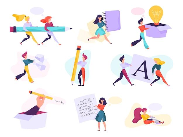 Conjunto de concepto de redactor. idea de escribir textos, creatividad.