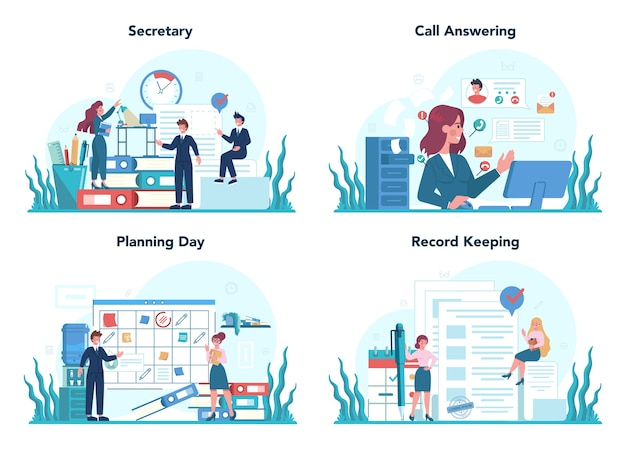 Conjunto de concepto de secretaria. recepcionista contestando llamadas y asistiendo