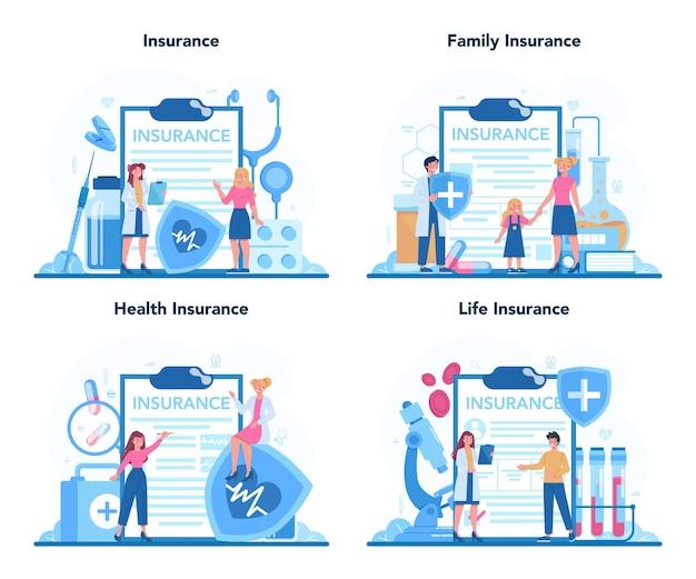 Conjunto de concepto de seguro médico. personas y médico de pie en el gran portapapeles con documento.