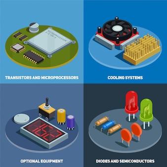 Conjunto de concepto de semiconductores de transistores, microprocesadores, diodos y sistemas de enfriamiento, composiciones cuadradas isométricas