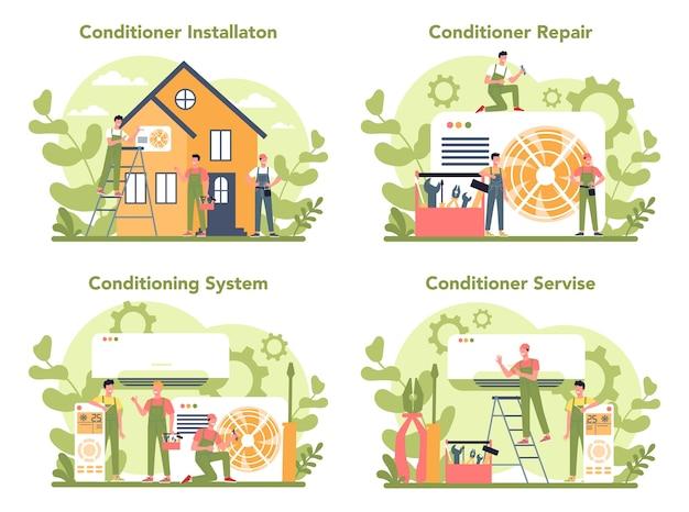 Conjunto de concepto de servicio de instalación y reparación de aire acondicionado