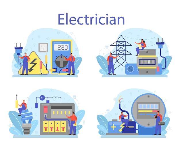 Conjunto de concepto de servicio de obras de electricidad
