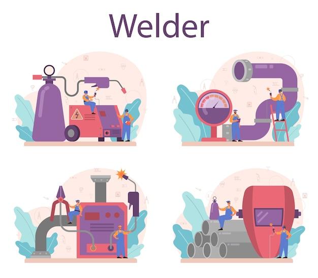 Conjunto de concepto de servicio de soldador y soldadura
