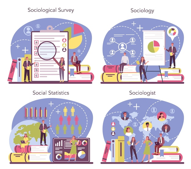 Conjunto de concepto de sociólogo. estudio científico de la sociedad, patrón de relación social, interacción social y cultura. estadística y encuesta sociológica. ilustración de vector aislado