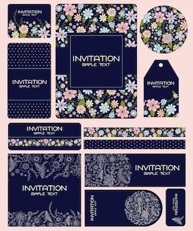 Conjunto de concepto de tarjeta de boda