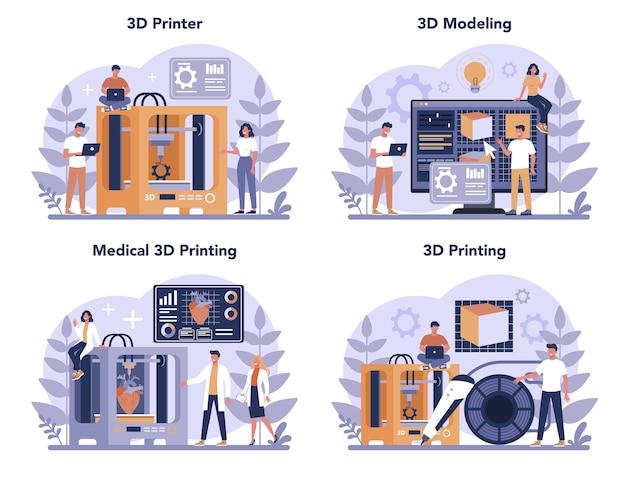 Conjunto de concepto de tecnología de impresión 3d. equipo de impresora 3d e ingeniero. construcción y prototipos modernos. ilustración de vector aislado