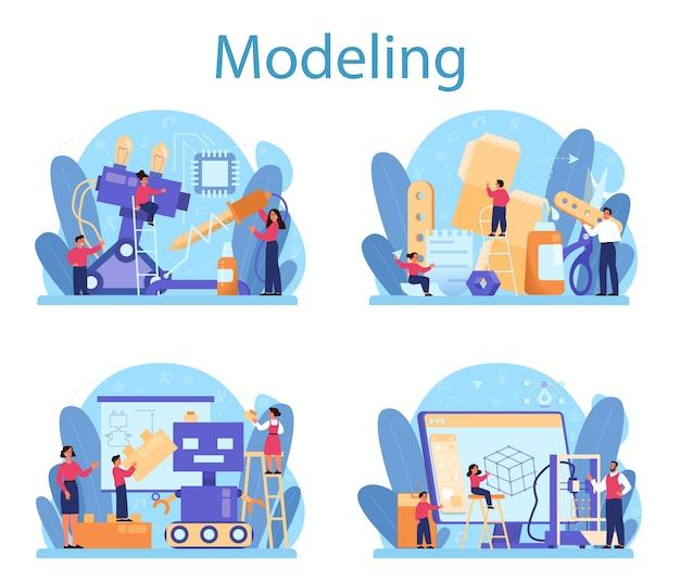 Conjunto de concepto de tema escolar de modelado. ingeniería, elaboración y restricción. idea de tecnología futurista, modelado, robótica.