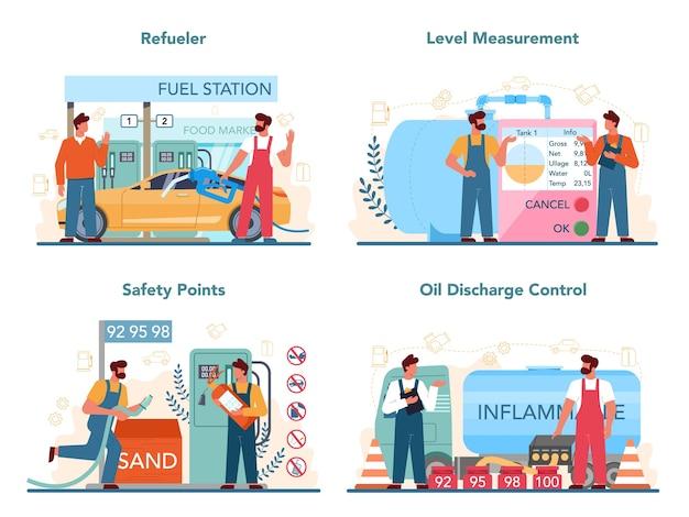 Conjunto de concepto de trabajador o reabastecimiento de gasolinera
