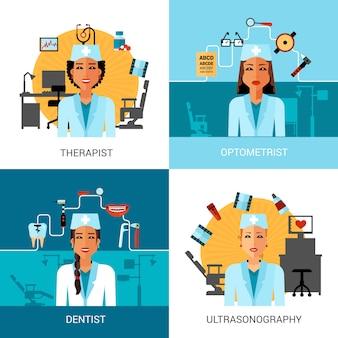 Conjunto de concepto de trabajadores médicos