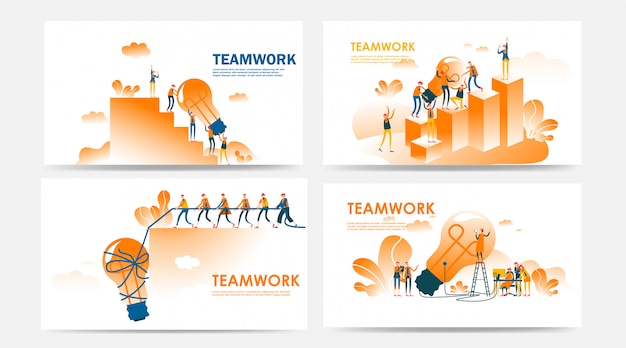 Conjunto de concepto de trabajo en equipo de página de destino y página web con empleados y búsqueda de nuevas ideas