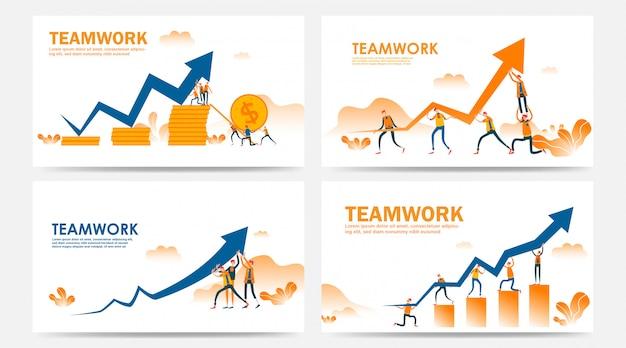 Conjunto de concepto de trabajo en equipo de página de inicio y página web con flecha gráfica en el camino hacia el éxito