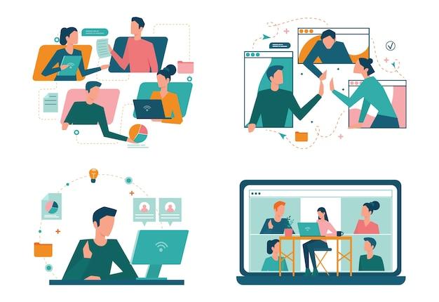 Conjunto de concepto de trabajo remoto. teletrabajo y outsourcing global, trabajo del empleado desde casa. distancia social durante la cuarentena del virus corona.