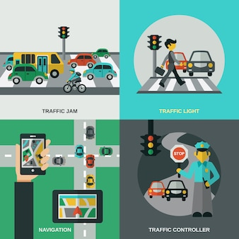 Conjunto de concepto de tráfico