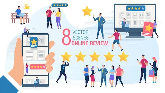 Conjunto de concepto de vector plano de revisión en línea del cliente