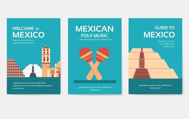 Conjunto de concepto de viaje de viaje de ornamento de país de méxico.