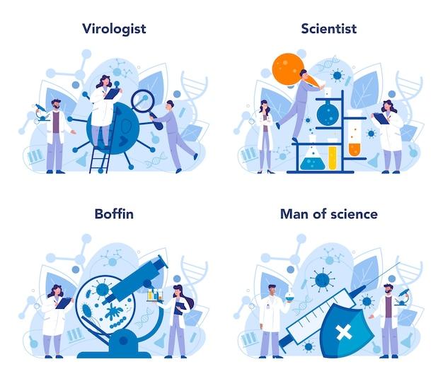 Conjunto de concepto de virólogo