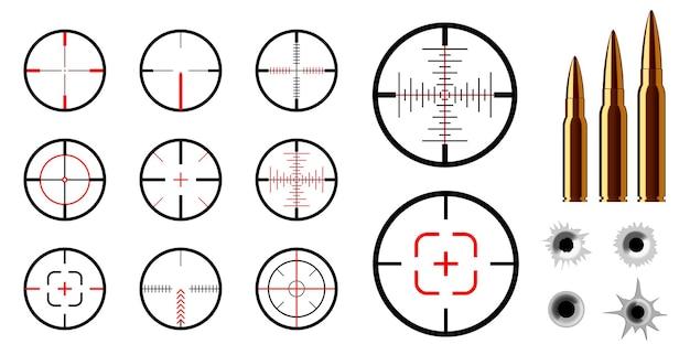 Conjunto de concepto de vista de francotirador. vector eps