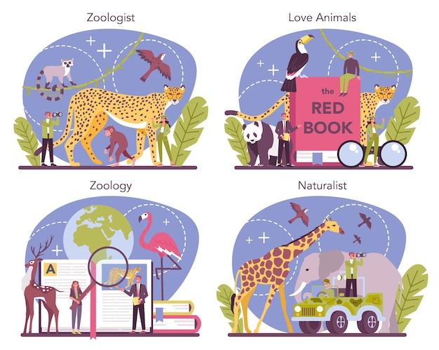 Conjunto de concepto de zoólogo. científico explorando y estudiando la fauna. estudio y protección de animales salvajes, naturalista en expedición a la naturaleza salvaje. ilustración de vector aislado