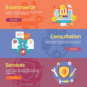 Conjunto de conceptos para comercio electrónico empresarial, consulta, servicios. conceptos para banners web y materiales impresos.