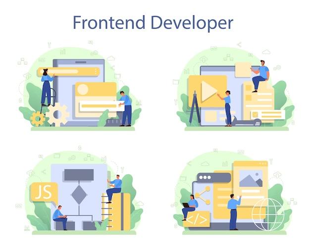 Conjunto de conceptos de desarrollador frontend. mejora del diseño de la interfaz del sitio web.