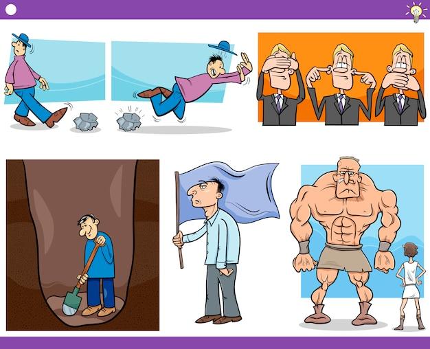 Conjunto de conceptos y dichos de dibujos animados