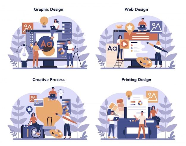 Conjunto de conceptos diseño gráfico, web, impresión. dibujo digital