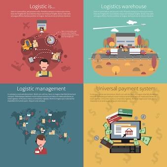 Conjunto de conceptos de diseño para logística.