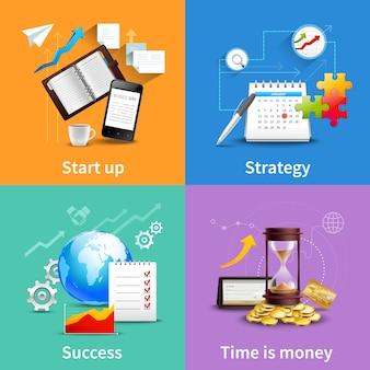 Conjunto de conceptos de diseño de negocios