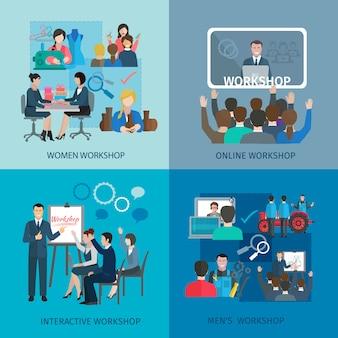Conjunto de conceptos de diseño de taller con iconos planos de trabajo en equipo interactivo en línea de mujeres hombres