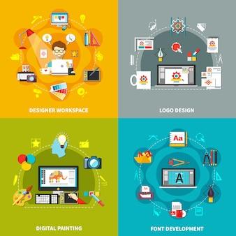 Conjunto de conceptos de herramientas de diseño
