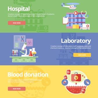 Conjunto de conceptos para hospital, laboratorio y donación de sangre. conceptos médicos para web y materiales impresos.