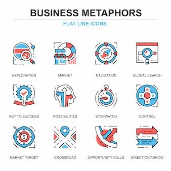 Conjunto de conceptos de iconos de proceso de negocio de línea plana