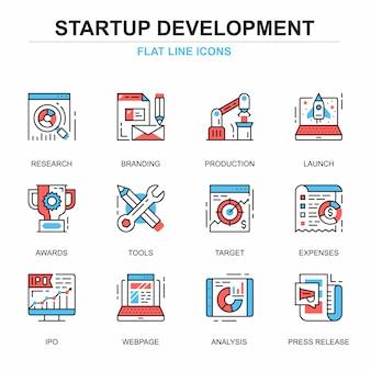 Conjunto de conceptos de iconos de proyecto de inicio de línea plana