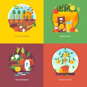 Conjunto de conceptos de ilustración plana para huerta, jugos frescos, vegetarianismo y planta en una maceta. frutas y hortalizas horticultura. conceptos para banner web y material promocional.