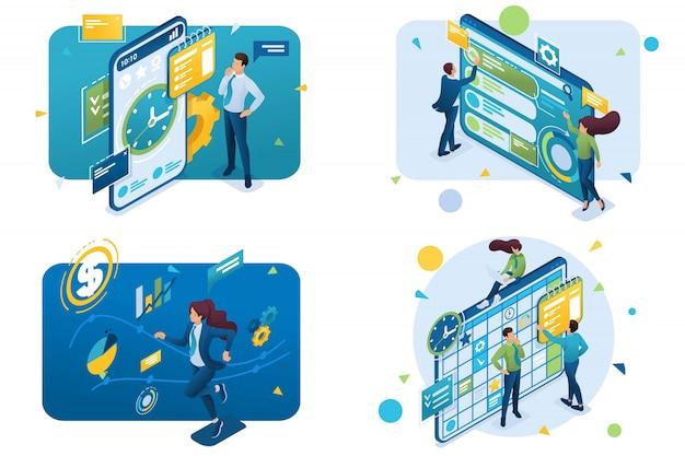 Conjunto de conceptos isométricos. gestión del tiempo, éxito, planificación empresarial, uso de interfaz.